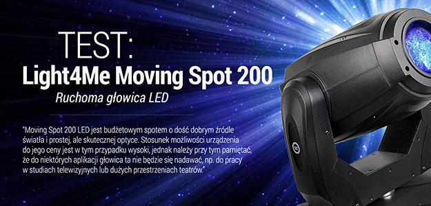 Test ruchomej głowicy Light4Me Moving Spot 200 LED